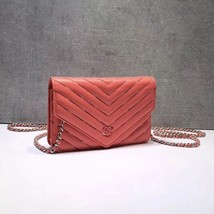 NEW AUTH CHANEL LIMITED Coral Pink Chevron WOC Wallet on Chain WOC Bag  image 4