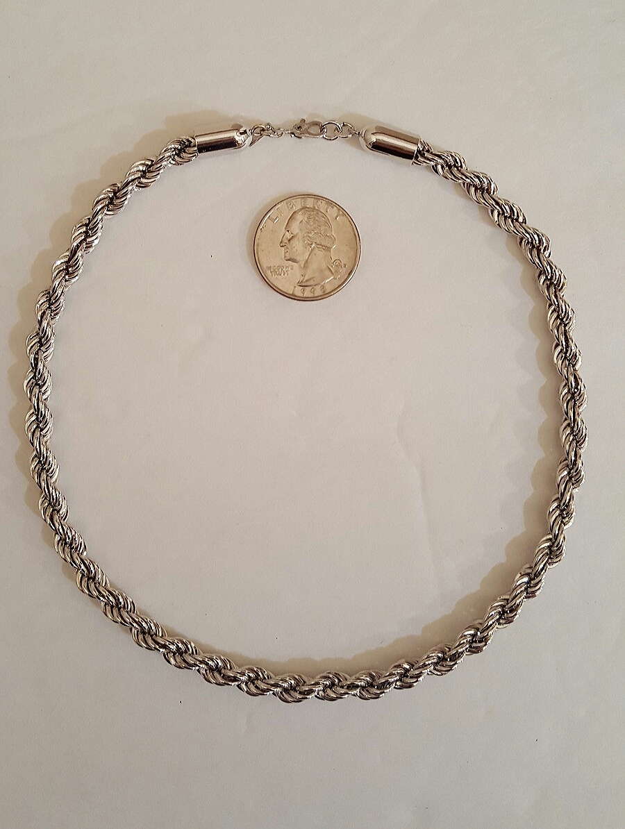 Vintage Monet Signed Silver Tone Rope Link Choker Chain Necklace