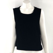 Coldwater Creek Sleeveless Top Size XL Black Velour Solid Shell Womens - $9.50