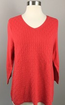 Womens Talbots Coral Pink 3/4 Sleeve Textured Knit Sweater Size Medium - $18.69
