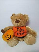 "Plushland 2008 Trick Or Treat 7"" Plush Bear W/ Pumpkin Halloween Bean Ba... - $19.79"