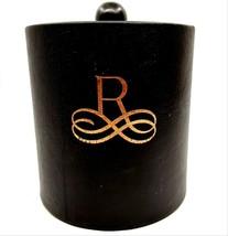 Black Vinyl Ice Bucket w/ Gold Letter R Scrollwork Monogram & Plastic In... - $12.99