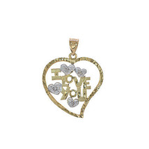 0.04 Carat Diamond Accent 'I Love You' Heart Pendant 14K Yellow Gold - $296.01