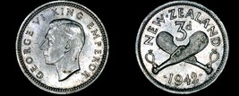 1942 New Zealand 3 Pence World Silver Coin - George VI - $10.75