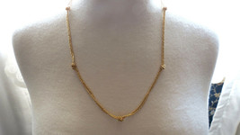VTG Monet Designer Gold Plated Chain Necklace Knots Foil Weave Lobster C... - $24.74