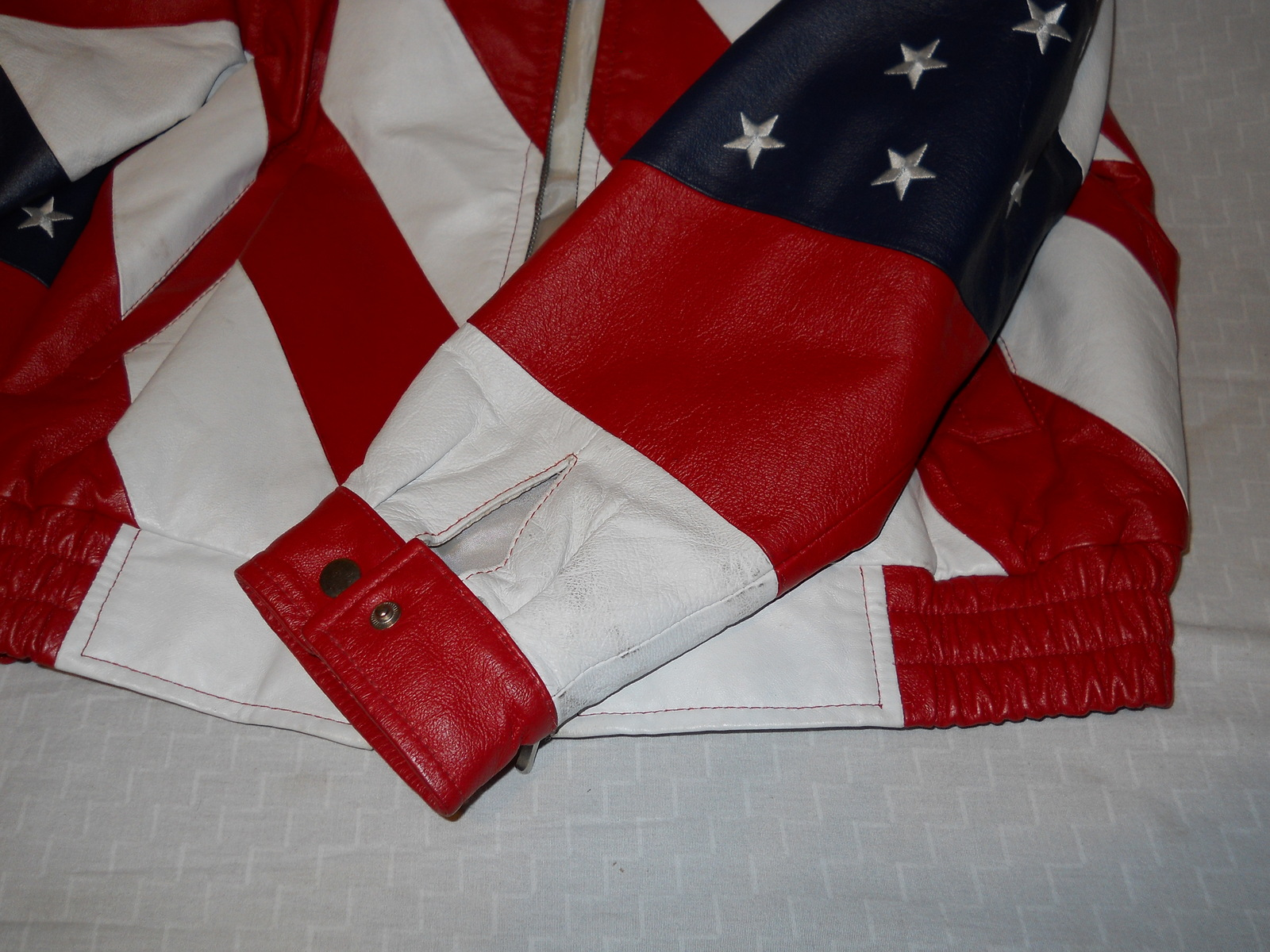 American Flag Stars & Stripes Red White Blue By USA Leathers Motorcycle Extra LG image 2