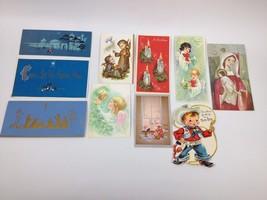 10pc Lot VTG 50s 60s XMAS Greeting Cards Santa Norcross Hallmark Cowboy ... - $14.69