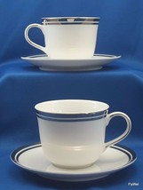 Royal Doulton Pure Platinum Cups and Saucers Set of 2 White Double Platinum Trim - $15.84