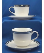 Royal Doulton Pure Platinum Cups and Saucers Set of 2 White Double Plati... - $11.88
