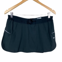 Nike Dri-Fit Skort Skirt L Black Active Tennis Stretch Drawstring Shorts... - $28.92
