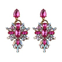 7 Colors Big Brand Luxury Flower Crystal Dangle Earrings Fashion Colorfu... - $17.78
