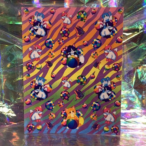 PRECIOUS Vintage Lisa Frank Kittens Playing IN Balloons Stickers S215 EARLY 90s