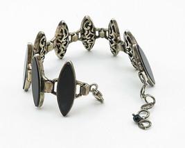 925 Sterling Silver - Vintage Pointed Oval Black Onyx Statement Bracelet... - $173.40