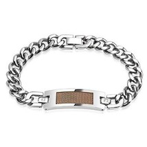 Stainless Steel Cuban Chain Bracelet with Rose Gold IP Mesh Screen Cente... - $24.99