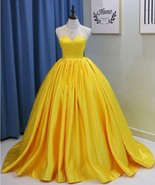 Yellow Satin Long Backless Bead Quinceanera Dress Sweet Prom Dresses - $185.00