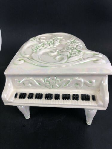 Vintage Handmade Ceramic Music Box Piano 1980's
