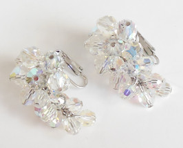 Aurora Borealis Cocktail Earrings Ladies Costume Clip On Dangle Jewelry ... - $9.95