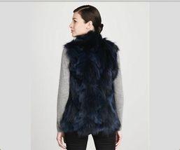 Jocelyn Bicolor Black Navy Roadie Fox Fur Vest New $1.1 image 3