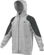 Adidas Originals Sport Luxe Moto Full-Zip Men's Hoodie Grey-Heather-Black - $94.95