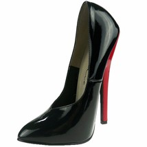 ELLIE Shoes High Heel Stiletto Patent Fetish Pump 8260 Black With Red Heel - $52.95