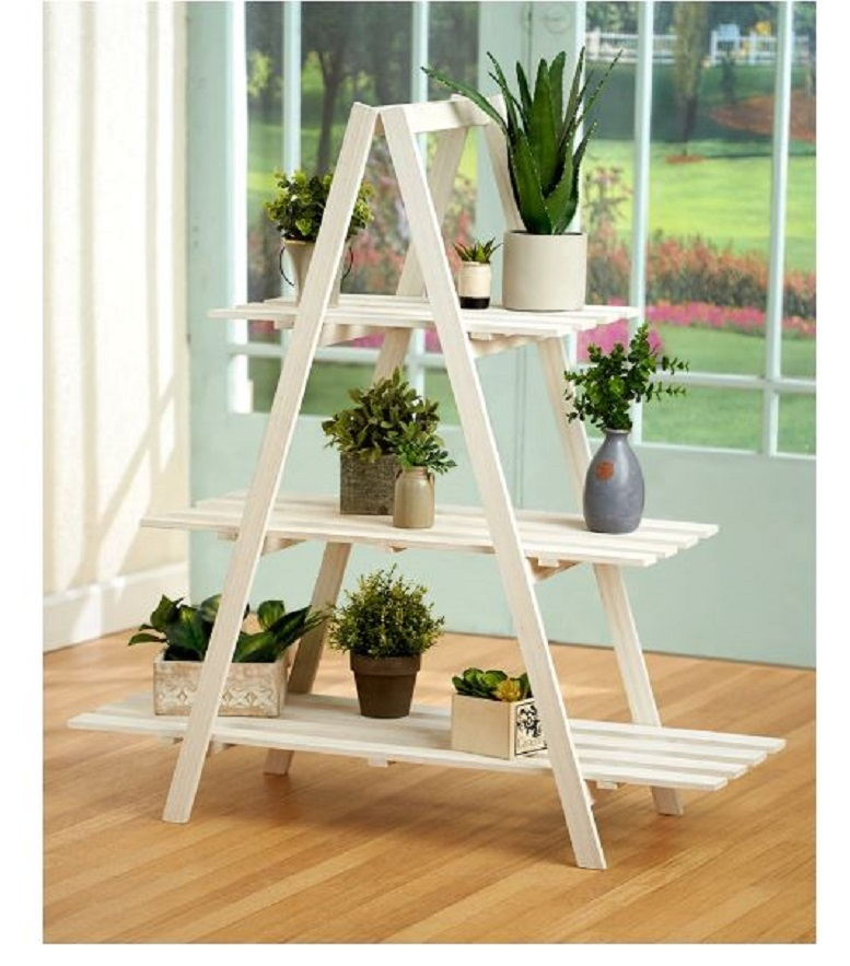 3 Tier Wooden Shelving Unit A - Frame Wood Shelf Stand Display Storage Fold Away