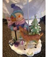 Large Snowman Reindeer Christmas Tree Tea Light Candle Holder w Lamp Sha... - $39.99
