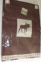 Moose Apron Brown Embroidered New Cotton Animal Silhouette Woodland River - $19.79