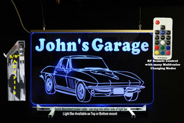 Custom Corvette Sign, LED, Man Cave Bar Sign - Lighted Sign - Lighted ca... - $96.03+