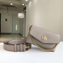 Tory Burch KIRA MIXED-MATERIALS BELT BAG Grey - $255.00