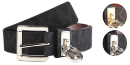 New Michael Kors Women's MK Logo Premium Faux Leather Belt Hamilton Lock 553305