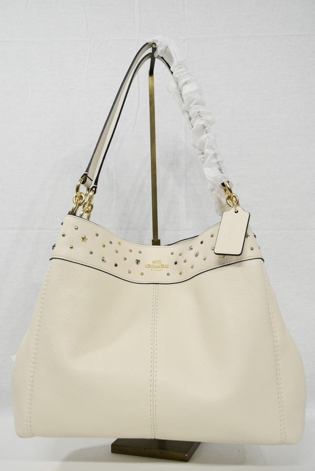 df86821df700 S l1600. S l1600. Previous. NWT Coach F22314 Stardust Studded Leather Lexy  Shoulder Bag in Chalk - Off White