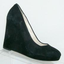 Nine West 'Helenia' black suede round toe slip on platform wedges 7.5M 7455 - $33.30