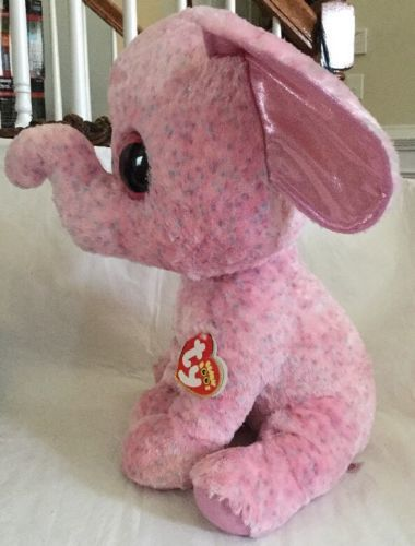 """Ty Beanie Boo Boos Ellie Elephant Jumbo 17"""" Extra Large Justice Exclusive  Pink 2d14a232343f"""