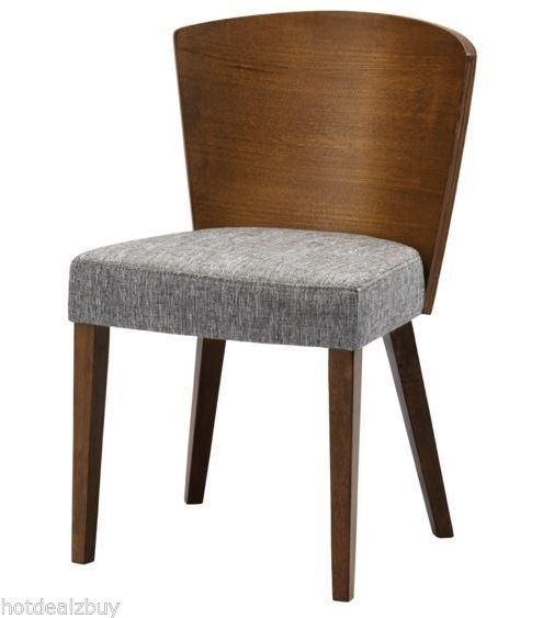 Set of 2 Dining Mid-Century Wood Chairs Retro Modern Grey Fabric Upholstered New