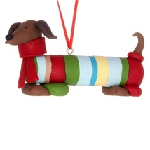 Red Dachshund Dog in Sweater Christmas Holiday Ornament - $15.50