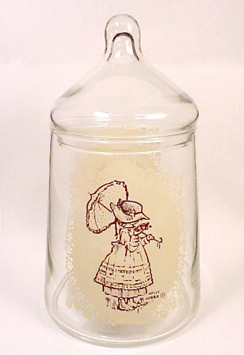 67927a holly hobbie glass covered candy jar canister vintage 1976 simple pleasures
