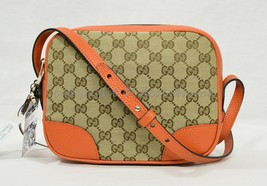 NWT Gucci Bree Shoulder / Crossbody Bag in GG Canvas and Orange Leather Trim - $799.00
