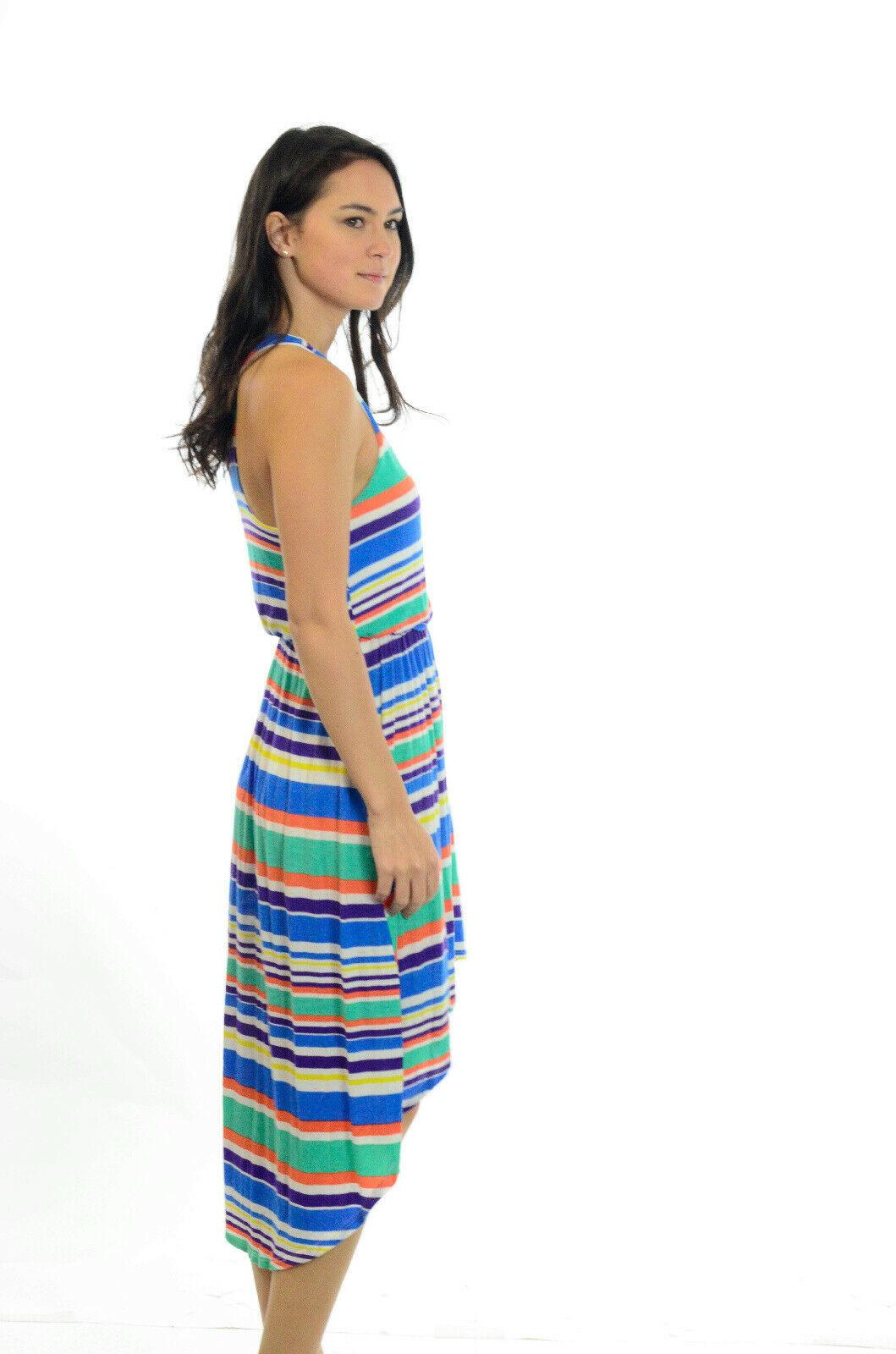 S LUSH Bright Multi Colored Striped Halter Top Asymmetrical Hem Hi-Low Dress