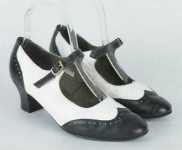 Bleyer Black & White Leather Mary Jane Dance Shoes Wingtip Swing Womens ... - $44.54