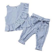 Fashion girls striped ruff sleeveless shirt + pants - $14.77