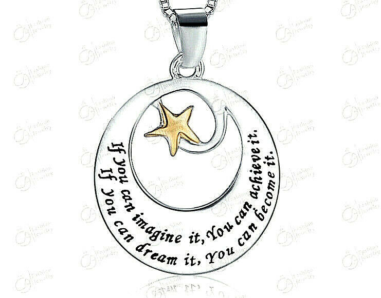 Primary image for IF YOU CAN IMAGINE IT Inspirational Pendant Necklace Sterling Silver NEW