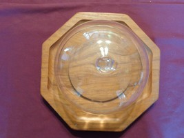 TEAK WOOD CHEESE CUTTING BOARD WITH GLASS COVER - $15.00