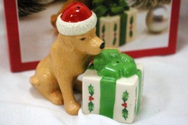 Lenox 1998 Holiday Dog With Present Salt And Pepper Shaker Set NIB - $17.32