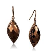 Women's Brass CZ Brown Light Coffee Marquise Dangle & Drop Earrings - $35.90