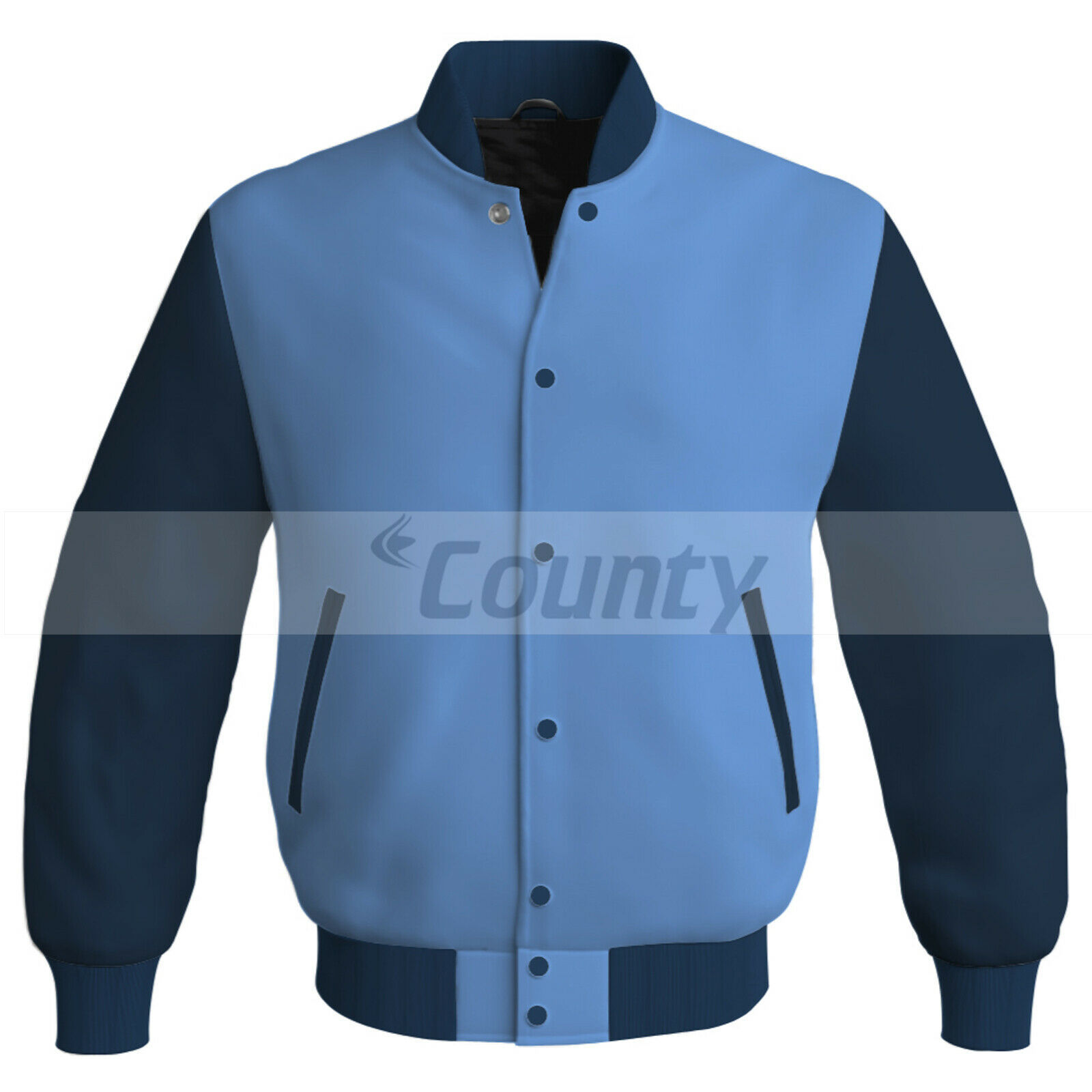 Primary image for Letterman Baseball College Bomber Super Jacket Sports Sky Blue Navy Blue Satin
