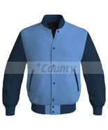 Letterman Baseball College Bomber Super Jacket Sports Sky Blue Navy Blue... - $49.98+