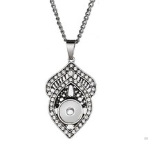 2019 New Snap Necklace Fashion Vintage Silver Necklace Fit 12mm Snap But... - $6.71