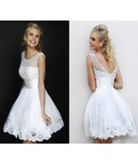 New White Lace Mini Wedding Dress Bridal Gown Stock US Size 2-16+ or custom - $55.74