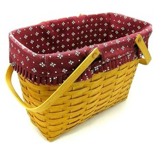 Vintage Longaberger Basket - Brown Wicker with Handles and Red Cloth Lin... - $69.95