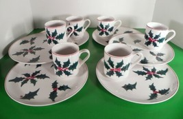 Jonas Roberts Japan FESTIVE CHRISTMAS Holly Berry 6 Snack Plate and Cup ... - $59.35